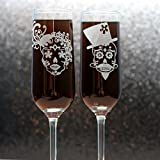 Engraved Wedding Flutes with Sugar Skull Couple (Set of 2) Custom Etched Champagne Glasses Review