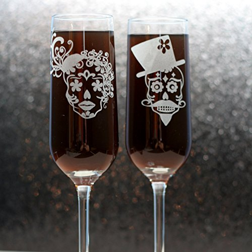 Engraved Wedding Flutes with Sugar Skull