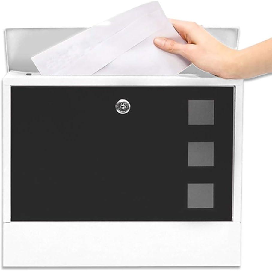 ポストボックス、メールボックス、レターボックス、スリムラインと新聞スロット、亜鉛メッキ鋼防水デザインポストボックス、壁掛け、ロック、白と黒