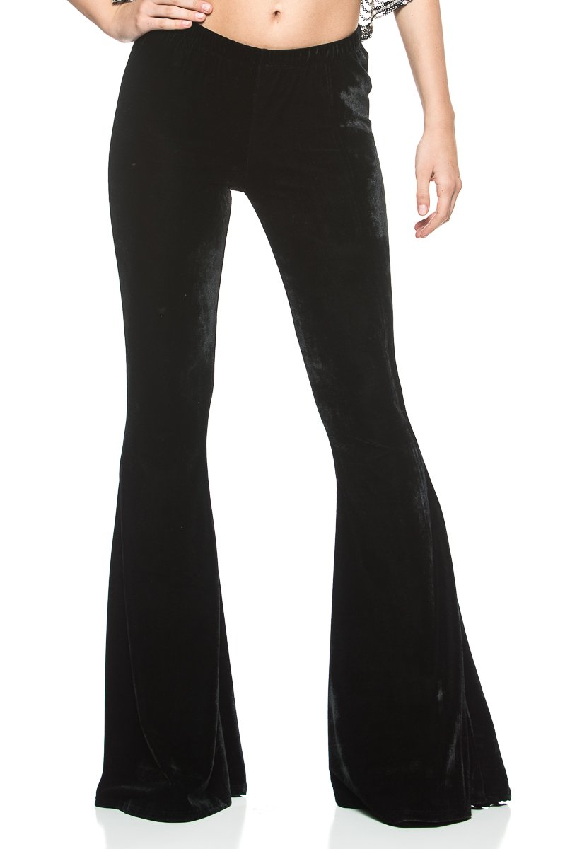 Women's Vintage 70s Glam Rock and Roll Indie Wide Leg Flared Bell Bottom Pants (Large, Black Velvet)