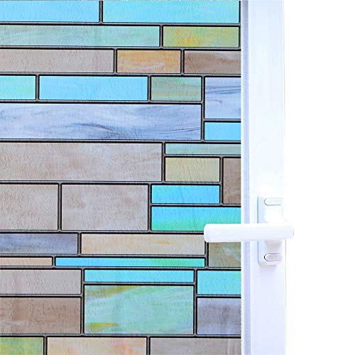 Niviy Privacy Window Covering Brick Stained Glass Window Film Waterproof Static Window Cling, 17.7