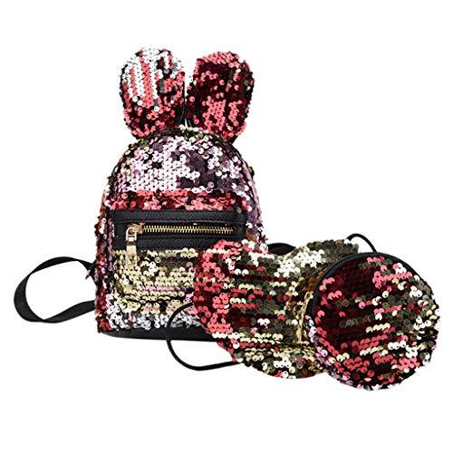 Chanel Messenger Handbag - Fashion 3Pcs Girl's Sequins Bunny Ears Bag Backpack, School Bag Backpacks+Messenger Bag+Pen Bag Clutch