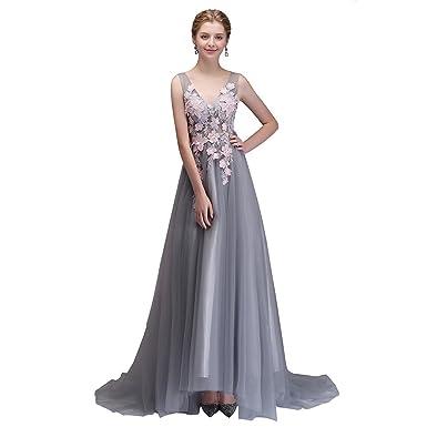 Angel Formal Dresses Womens V Neck Floral Applique Tulle Prom Dress Party Formal Dresses(2