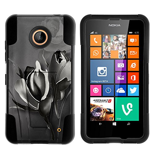 (Nokia Lumia 635 Case, Nokia Lumia 630 Case, Durable Hybrid STRIKE Impact Kickstand Case with Art Pattern Designs for Nokia Lumia 635, 630 (AT&T, Sprint, T Mobile, Cricket, Virgin Mobile, Boost Mobile, MetroPCS) from MINITURTLE | Includes Clear Screen Protector and Stylus Pen - Black Rose)