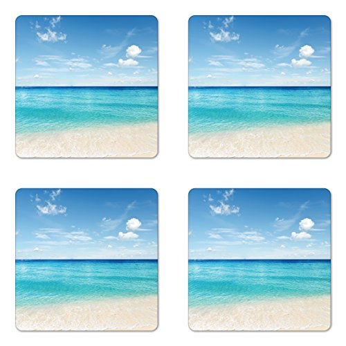 Lunarable Ocean Coaster Set of Four, Tropical Carribean Sea Shore Sand Beach Blue Calm Serene Peaceful Waters, Square Hardboard Gloss Coasters for Drinks, Blue Aqua and White