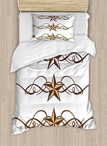 SINOVAL Primitive Country Duvet Cover Set Twin Size, Western Stars Scroll Design Ornate Swirls Antique Artistic Print,Fashion 2 Piece Bedding Set with 1 Pillow Sham, Brown Pale ()