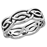 Sterling Silver Celtic Knot Ring Wedding Band Thumb Ring 1/4 inch sizes 6 - 10