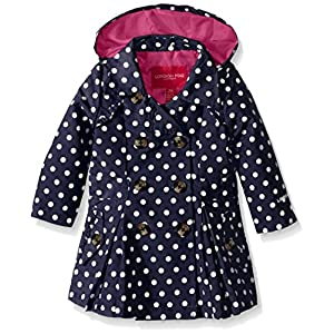 London Fog Baby Girls' Lightweight Polka Dot Trench Coat, Navy, 18 Months