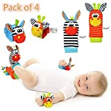 Cute Animal Soft Baby Socks Toys Wrist Rattles and Foot Finders for Fun Toys for 2 4 5 7 8 10 3-6 Month