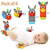 Amazon Price History for:Cute Animal Soft Baby Socks Toys Wrist Rattles and Foot Finders for Fun Toys for 2 4 5 7 8 10 3-6 Month