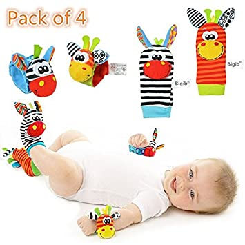 Amazon Com Cute Animal Soft Baby Socks Toys Wrist Rattles And Foot