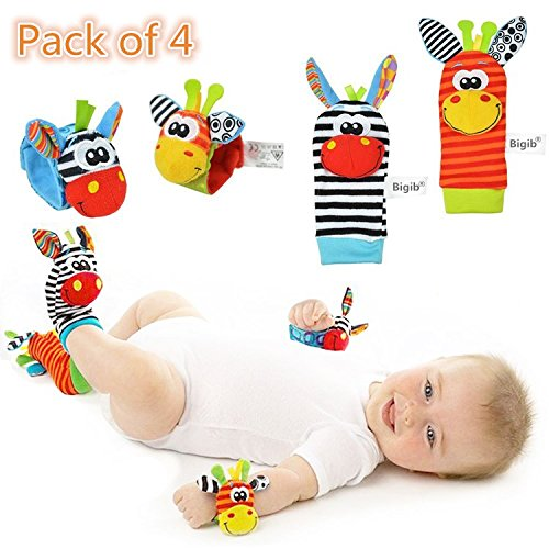 Cute Animal Soft Baby Socks Toys Wrist Rattles and Foot Finders for Fun Toys for 2 4 5 7 8 10 3-6 Month  from CUTESOCKS