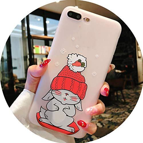 Silicone Phone Case for iPhone 7 8 Plus 3D Cartoon Elephant Rabbit Soft TPU Back Cover for iPhone X 7 6 6S Plus Cases,SJ9874,for iPhone X