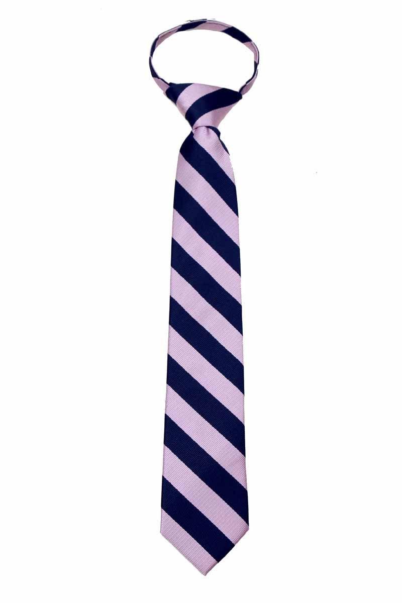 College Stripe Repetitive Boys Youth Zipper Necktie Schools Traditional Zip Ties