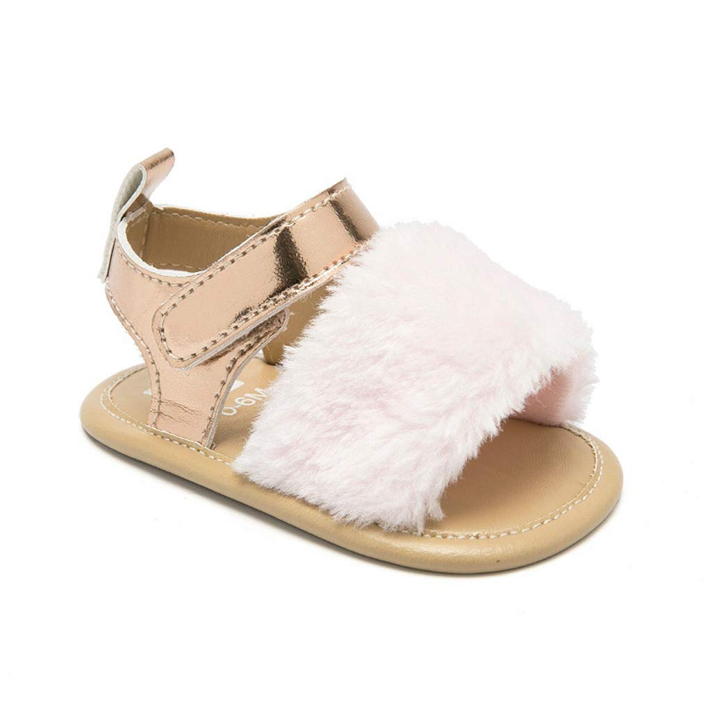 Baby Girl Princess Shoes,Jchen Newborn Infant Baby Boys Girls Crib Prewalker Soft Sole Anti-Slip Shoes Sandals for 0-18 Months (Age:0-6 Months, Pink)