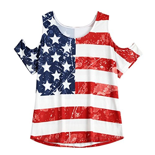 Wintialy Women Colourful Mixed Color Vintage National Flag Print Top Holes Shoulder Round Neck Casual Shirt Blouse (Top Mixed Prints V-neck)