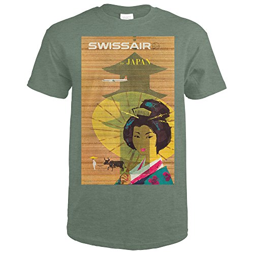 Swiss Military Air (Swiss Air - Japan Vintage Poster (artist: Brun) Switzerland c. 1958 (Heather Military Green T-Shirt X-Large))