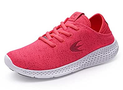 Ezywear Women's Running Shoe Fashion Sneaker Breathable Shock Absorbing Walking Shoe Sport Cross Trainer Shoe (6, Pink)
