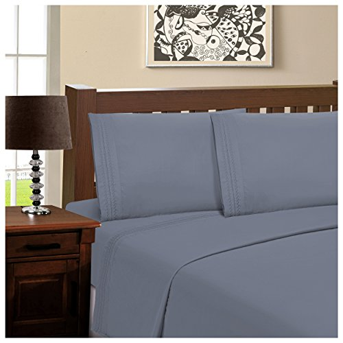 Superior Infinity Embroidered Luxury Soft, Cooling 100% Brushed Microfiber 4-Piece Sheet Set, Light Weight and Wrinkle Resistant - Queen Sheets, Medium Blue