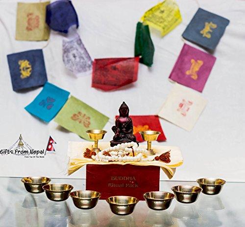 Statue Beads Mala Offering Cup Box Prayer Flags Tibetan Ritual