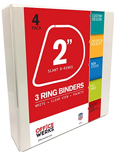 3 Ring Binders, 2 Inch Slant D-Rings, White, Clear View, Pockets, 4 Pack (View Ring D-ring 2in Binder)