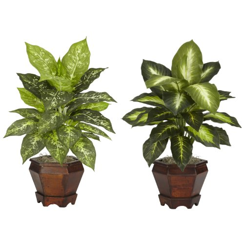 nearly-natural-6712-as-s2-dieffenbachia-with-wood-vase-decorative-silk-plant-assorted-set-of-2
