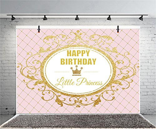 Leyiyi 7x5ft Photography Background Happy Birthday Backdrop Crown Little Princess Royal Party Banner Glittering Characters Magical Mirror Lattice Baby Shower Photo Portrait Vinyl Studio Video Prop -