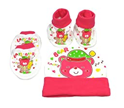 Matching Scratch Mittens , Booties Socks And Hat Newborn Infant