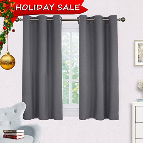 Bedroom Curtains Blackout Drapery Panels - NICETOWN Three Pass Microfiber Thermal Insulated Solid Ring Top Blackout Window Curtains / Drapes (Two Panels,42 x 54 (Gray Rectangular Ring)
