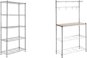 "AmazonBasics 5-Shelf Adjustable, Storage Shelving Unit, Steel Organizer Wire Rack, Chrome & Kitchen Storage Baker's Rack with Table, Wood/Chrome - 63.4"" Height"