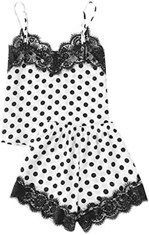 Yoga Bras for Women,Fashion Girls Cute Lace Embroidered Silk Dot Underwear and Shorts Pajama Set,Women's Suiting Black