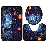 sikiwind 3 Pieces Bathroom Rug Mats Set Waterproof Halloween Pumpkin Polyester Toilet Seat Cover Lid Non-Slip Square U-Shape Mat Rug Bathroom Decor