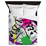 CafePress Colorful Grunge Dance Queen Duvet Cover, Printed Comforter Cover, Unique Bedding, Microfiber