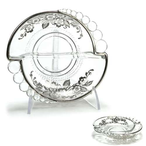 Teardrop by Duncan & Miller, Glass Nut Dish, Floral Silver Overlay