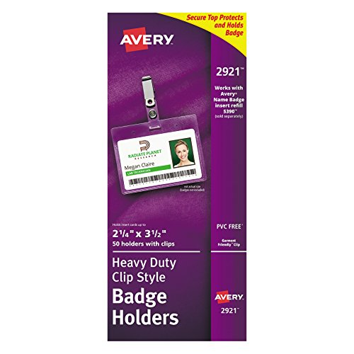 Avery AVE2921 Clear Heavy-Duty Clip Style Landscape Badge Holders, 2-1/4