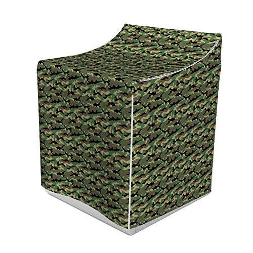 Woodland Camouflage Accents - Lunarable Abstract Washer Cover, Camouflage Theme Intertwined Shapes Jungle Pattern Hiding in Woodland Illustration, Easy to Use Bathroom Accent Fabric, 29