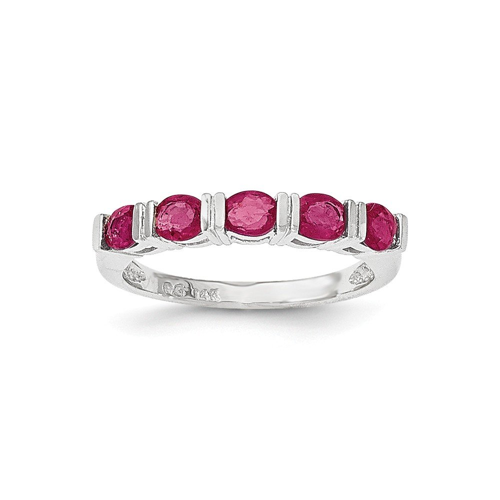 Size 7 - Solid 14k White Gold Glass Filled Simulated Ruby Five Stone Ring by Sonia Jewels