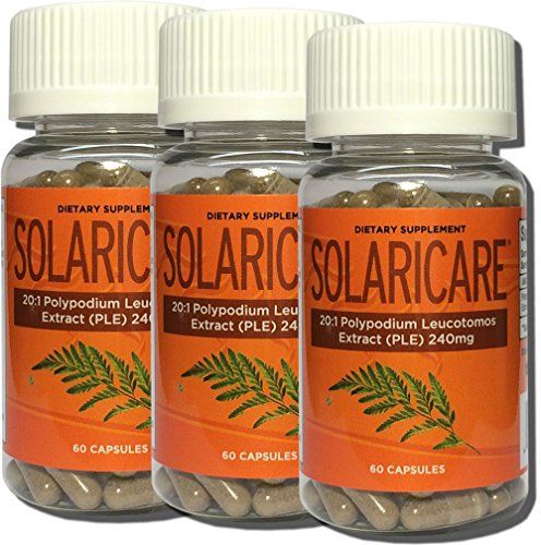 - SOLARICARE 60 Cap Bottle 240mg 20:1 whole herb extract of polypodium leucotomos(3 Bottles)