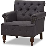 Baxton Studio Geneva Dark Grey Fabric Upholstered Walnut Wood Button-Tufted Armchair