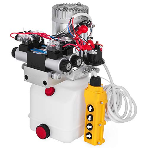 Happybuy Double Acting Double Solenoid Hydraulic Power Pack 4.5Liter 12V DC Hydraulic Power Unit Hydraulic Pump for Dump Trailer