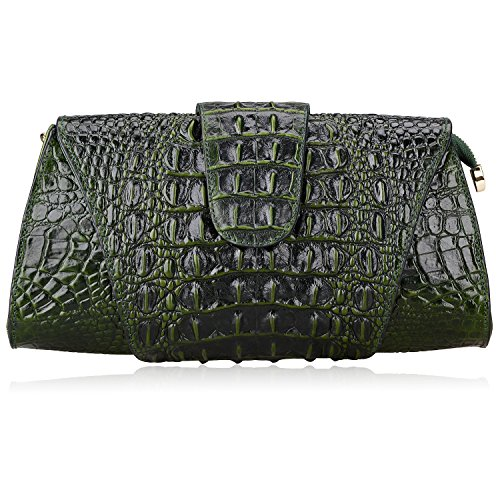 Croco Embossed Leather (Pijushi Croco Embossed Leather Clutch Bag Cross Body Handbag 8062 (One Size, Green))