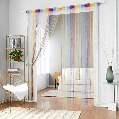 HSYLYM 1x2M Door String Curtains Flat Silver Ribbon Window Blinds Pannel Room Divider for Party Wedding Coffee House -