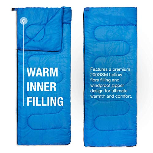 Active Era Camping Sleeping Bag for Adults - Warm, Compact, Lightweight Polyester Sleeping Bag for Camping Adult - Indoor & Outdoor Summer Camping Sleeping Bags for Adults, Boys and Girls