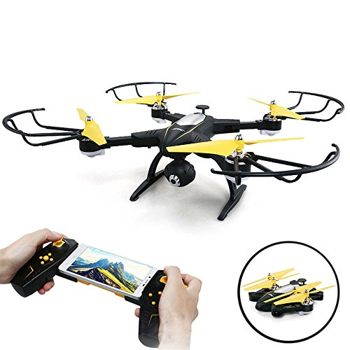 SZJJX RC Quadcopter Foldable Remote Control Drone FPV VR WiFi 2.4Ghz 6-Axis Gyro 4CH Helicopter with 2mp 720P HD Camera Time Transmission Rtf H39 Black