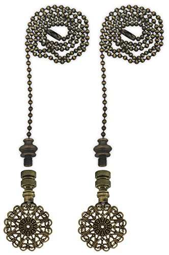 Royal Designs Fan Pull Chain with Sun Scalloped Filigree Finial - Antique Brass - Set of - Finial Filigree