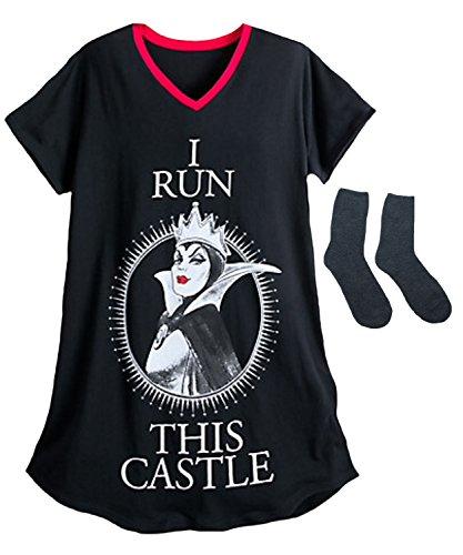 Evil Queen Disney Villians Womens' Nightshirt & Plush Lounge Socks Multi-Pack (X-Small/Small) -