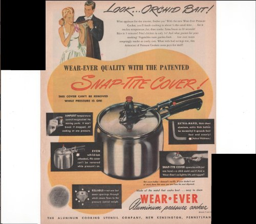 Wear Ever Aluminum Pressure Cooker Home Food 1947 Vintage Antique Advertisement (Vintage Pressure Cookers compare prices)