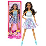 Mattel Year 2013 Barbie Fashionistas Series 12 Inch Doll Set - NIKKI (BGY20) with White, Blue and Purple Neck Strap Dress Plus Earrings, High Heel Shoes and Purse