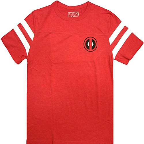 Marvel Comics Deadpool Wilson 91 Varsity Men's Red Charcoal T-Shirt (Large)