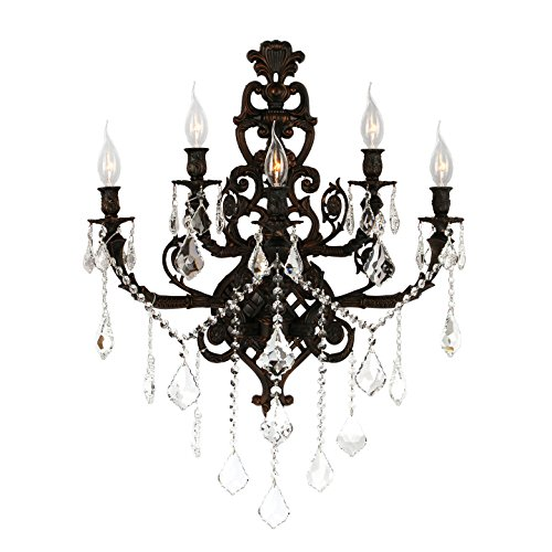 Versailles Sconce 2 Light (Worldwide Lighting Versailles Collection 5 Light Flemish Brass Finish Crystal Wall Sconce 19